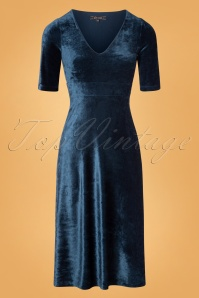 King Louie 70s Zita Shiny Velvet Midi Dress in Autumn Blue