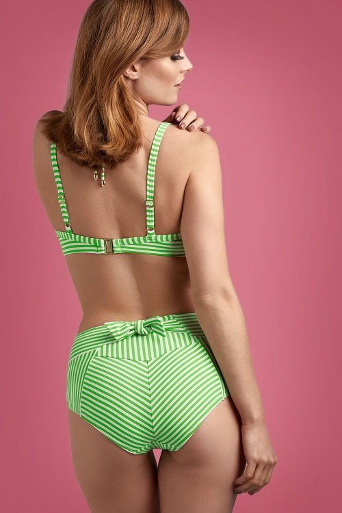 Marlies Dekkers 31261 Padded Plunge Balcony Bikini Top 31262 High Waist Briefs Green White 20191104 020L copy