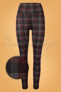 50s Audrey Check Leggings in Burgundy