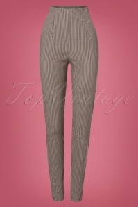 Miss Candyfloss 50s Kaity High Waist Check Pants in Beige