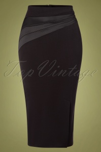 50s Lillie Satin Wiggle Skirt in Black