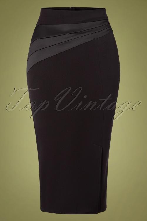 Miss Candyfloss 31047 Pencilskirt Black Satin 11052019 002W