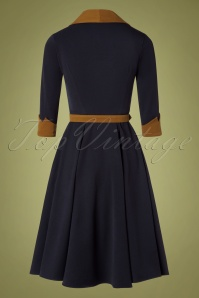 Miss Candyfloss 31052 Swingdress Navy Brown 11052019 010W
