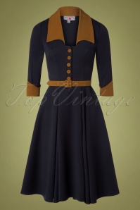 Miss Candyfloss 31052 Swingdress Navy Brown 11052019 006W