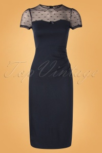 50s Charlyne Pencil Dress in Midnight Blue