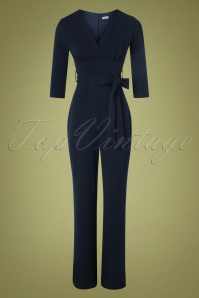 Vintage Chic for TopVintage 50s Jillian Jumpsuit in Navy