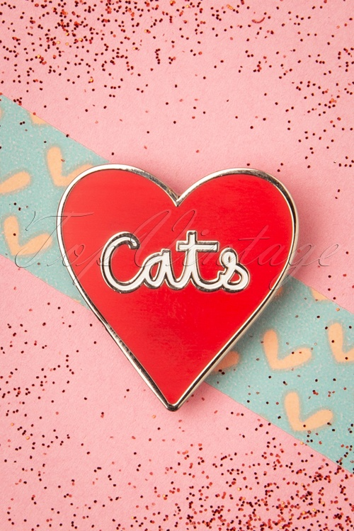 Punky Pins 32944 Pin Heart Love Cats Red 11042019 006W