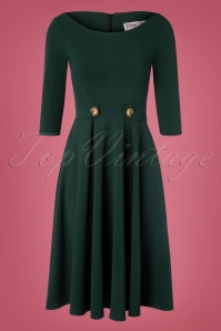 Vintage Chic 32677 Swingdress Green Forest Buttons 11052019 002W
