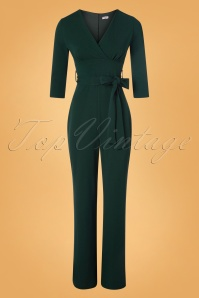 Vintage Chic for TopVintage 50s Jillian Jumpsuit in Forest Green
