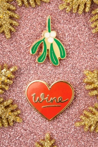 Mistletoe And Wine Enamel Pin Set