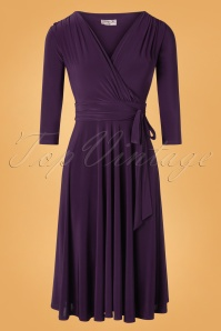 50s Cassandra Midi Dress in Aubergine