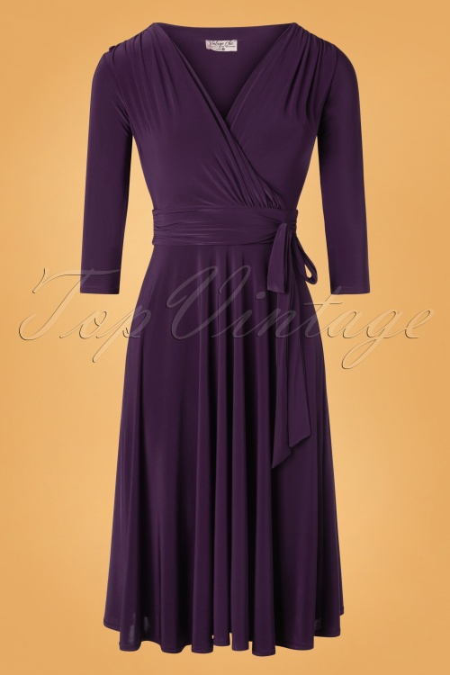 Vintage Chic 32799 Swingdress Silky Purple Plain 11052019 002W