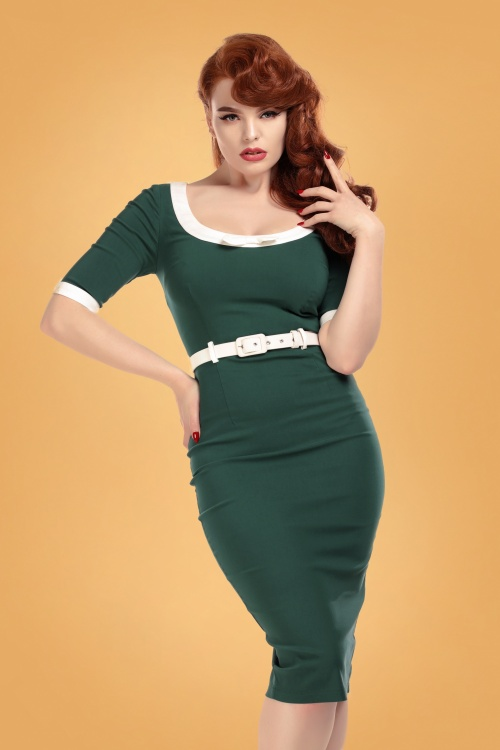 Collectif 29832 freya teal pencil dress 20190415 020LW