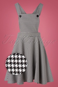 Bunny Harvey Houndstooth Pinafore Dress Années 60 en Noir et Blanc