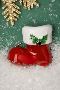 50s Santa's Boot Brooch in Red