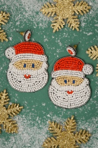 Darling Divine Santa Earrings Années 50 en Blanc et Rouge