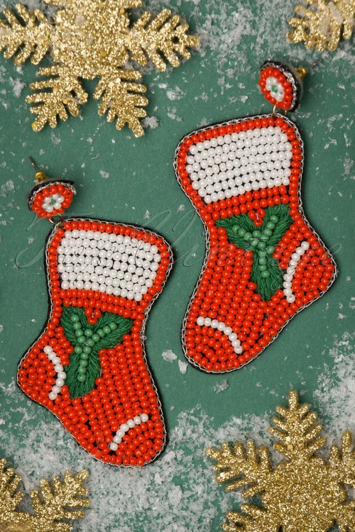 Darling Divine 31357 Earrings Socks Christmas Red White Beads 20191108 005 W