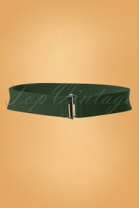 Collectif Clothing 50s Billie Cinch Stretch Belt in Moss Green