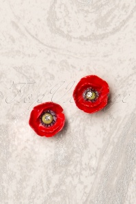 60s Porcelain Poppy Stud Earrings in Red
