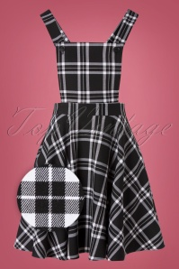 Islay Pinafore Dress in Années 60 en Noir et Blanc