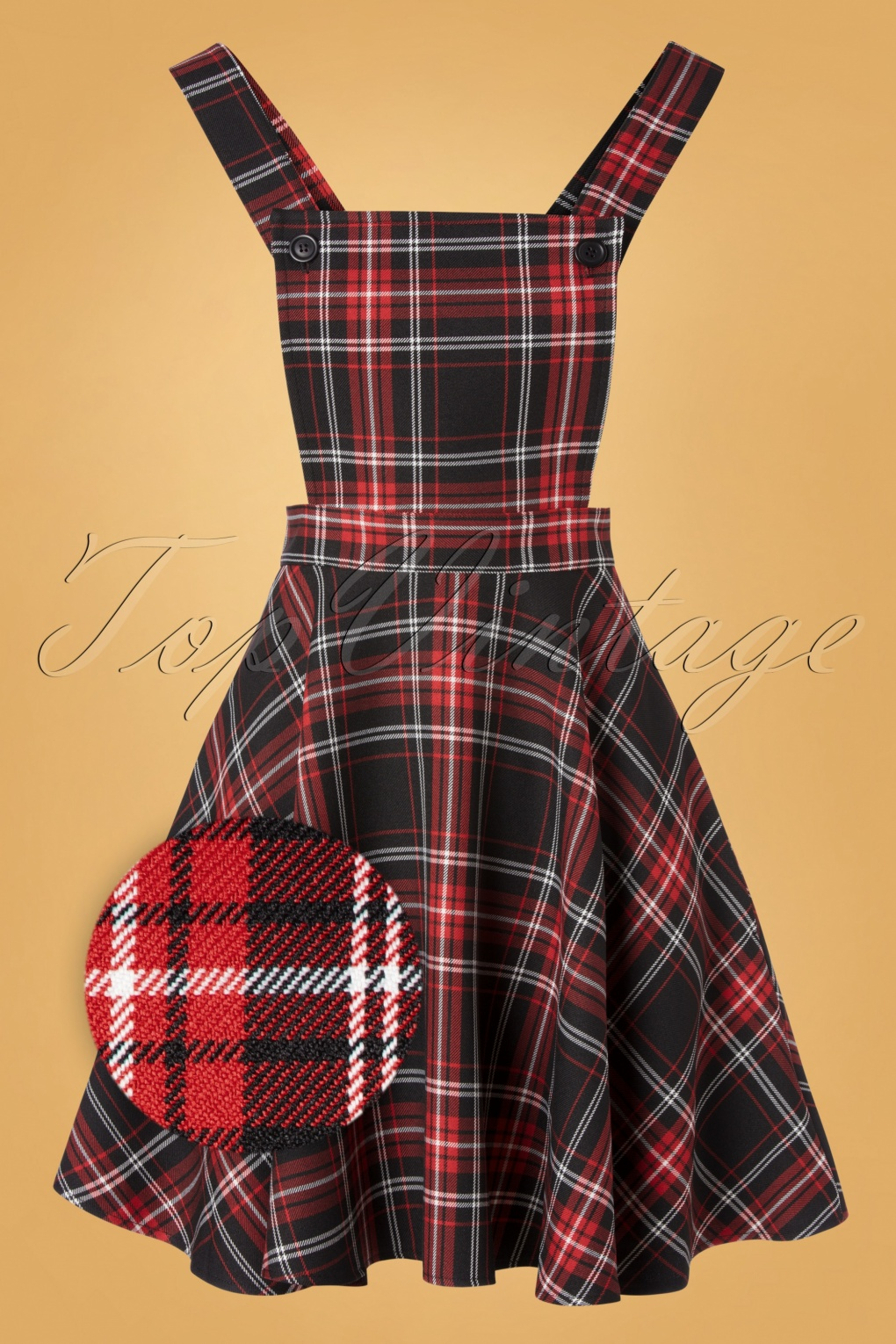 Swing Dance Dresses | Lindy Hop Dresses & Clothing 60s Islay Tartan Pinafore Dress in Black and Red £49.66 AT vintagedancer.com