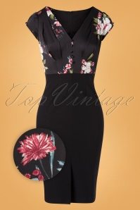 50s Skyla Floral Pencil Dress in Black