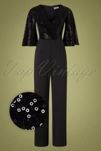 Vintage Chic for TopVintage Courtney Sequin Jumpsuit Années 70 en Noir