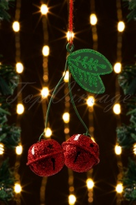 Jingle Glitter Cherries Hanging Decoration in Red