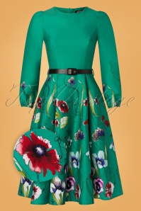 Hearts & Roses 50s Milana Floral Swing Dress in Emerald Green