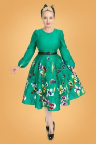 Hearts & Roses 31111 Green Floral Swing Dress 20190917 020LW