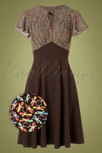 The House of Foxy 40s Grable Tea Dress in Brown