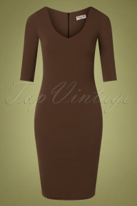 50s Kinsley Pencil Dress in Rocky Road Brown
