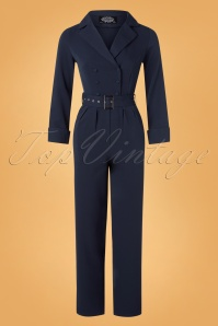 Hearts & Roses 50s Bettie Jumpsuit in Navy