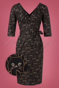 Victory Parade TopVintage Exclusive ~ Rita Cat Dress Années 60 en Noir et Doré