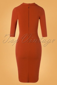 Vintage Chic 32676 Pencildress Cinnamon Plain Bow 11132019 007W