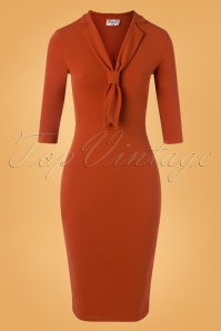 Vintage Chic 32676 Pencildress Cinnamon Plain Bow 11132019 003W