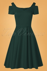 Bunny 50s Helen Swing Dress in Dark Green