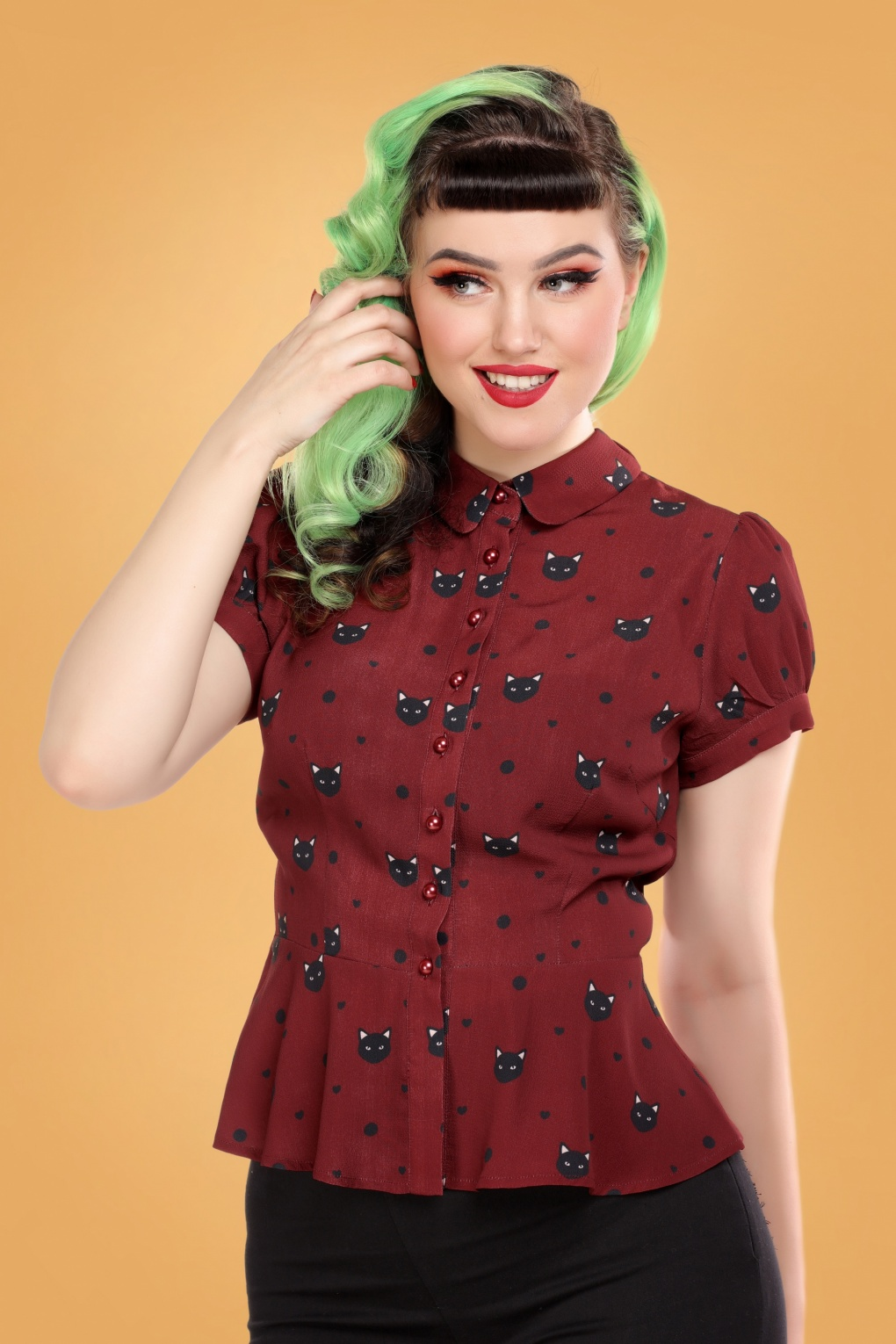 1940s Blouses and Tops 40s Mary Grace Polka Meow Blouse in Wine £33.18 AT vintagedancer.com