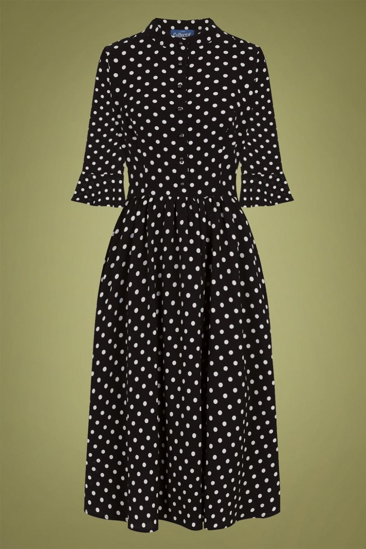 Polka Dot Dresses: 20s, 30s, 40s, 50s, 60s 40s Elisa Polkadot Swing Dress in Black £70.90 AT vintagedancer.com