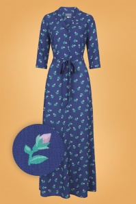 Collectif Clothing 40s Luisa Rose Bud Maxi Dress in Blue