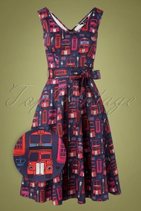 Lady V by Lady Vintage 50s Charlotte On The Bus Dress in Navy