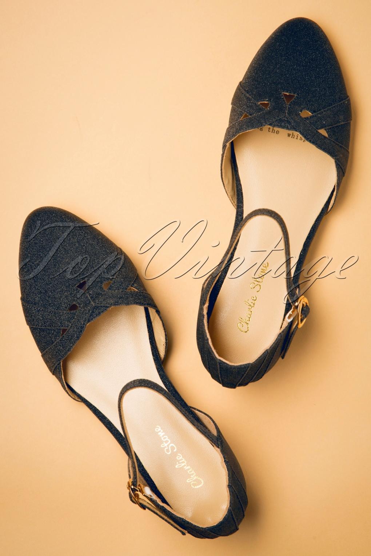 1920s Shoes UK – T-Bar, Oxfords, Flats 20s Manhattan Glitter Flats in Midnight Black £80.50 AT vintagedancer.com