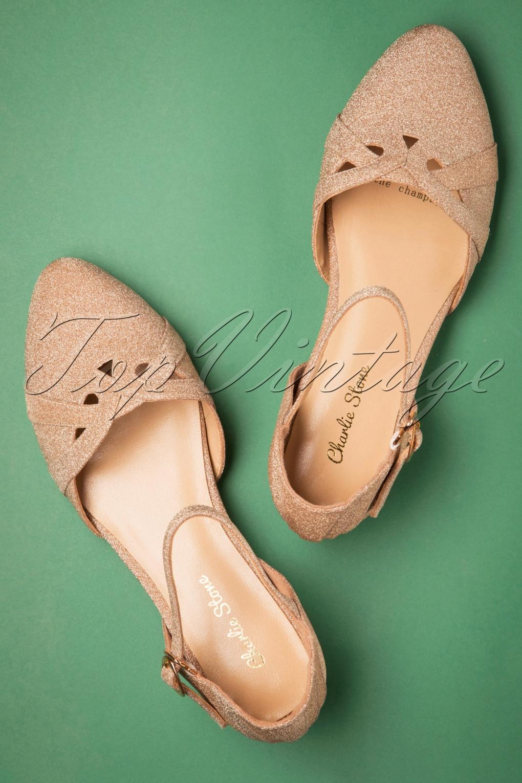 1920s Shoes UK – T-Bar, Oxfords, Flats 20s Manhattan Glitter Flats in Champagne £92.00 AT vintagedancer.com