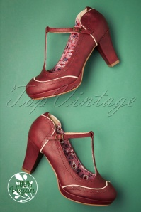 Bettie Page Shoes Joan T-Strap Pumps Années 50 en Bordeaux