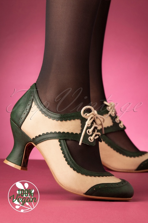 Bettie Page 29730 Nina Bootie Green Beige 20191114 008W
