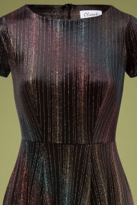 Closet 33075 Swingdress Velvet Blavk Rainbow Glitter Short Sleeve 11142019 004V