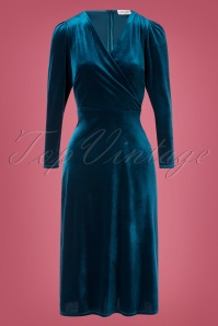 Closet London Glory Velvet Dress Années 50 en Bleu