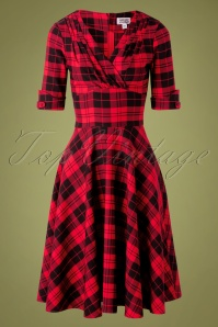 Unique Vintage 50s Delores Plaid Swing Dress in Red and Black