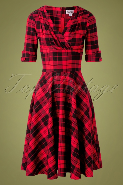 Unique Vintage 32275 Swindress Red Delores Checked 11182019 003W