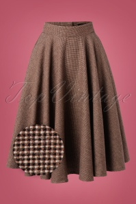 Sheen 40s Sophie Wool Check Skirt in Brown